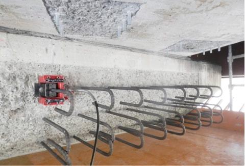 アンカー引張強度試験機 プロテスターTL 水平方向の鉄筋アンカーの検査も可能