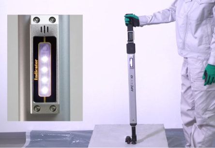 アンカー引張強度試験機 アンカープロチェッカー(APC) 7 設定した検査荷重に到達するまで、載荷荷重の増加に合わせて音と同時に白いLEDが1個づつ点灯します。