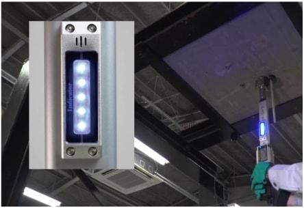 アンカー引張強度試験機 アンカープロチェッカー(APC) 6 検査荷重に到達すると、ブザー音と同時にLEDが青く点灯します。併せて、グリップに振動が伝えられますので、音、色、振動の3つでお知らせします。