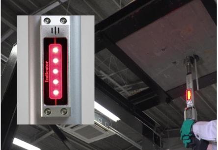 アンカー引張強度試験機 アンカープロチェッカー(APC) 7 検査上限荷重(過荷重)に達すると、ブザー音が警告音に変わり、LEDは赤く点灯します。