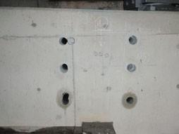 各種コンクリート切断工事 各種点検・診断 耐震補強工事(土木インフラ) 国道での高架橋外耐震補強工事 コア穿孔完了