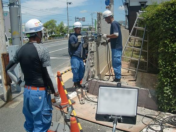 各種コンクリート切断工事 ブロック等塀解体及びブロック・フェンス塀新設工事